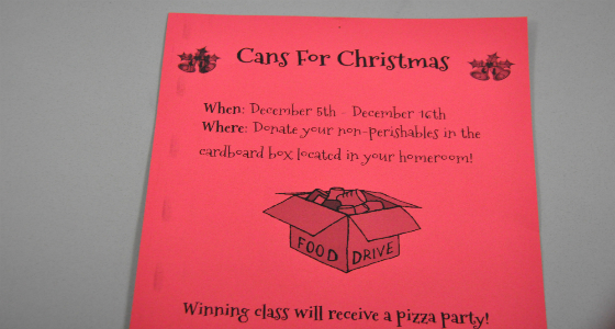 FFA Conducts Cans for Christmas Food Drive