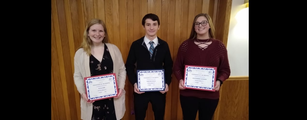 December & January Elks Teen of the Month 2019-2020